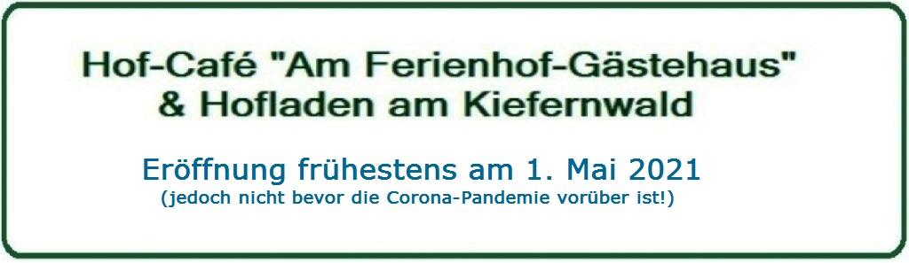 Bernsteinstadt Ribnitz-Damgarten - Hofcafe 'Am Ferienhof-Gästehaus' Ribnitz-Damgarten & Hofladen am Kiefernwald - Eröffnung voraussichtlich am 1.Mai 2021 - Inhaber: Eckart Kreitlow