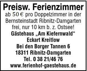 Preiswerte Ferienzimmer - Zimmervermietung Ferienhof-Gästehaus Am Kiefernwald Ribnitz-Damgarten - seit 1993, Inhaber: Eckart Kreitlow