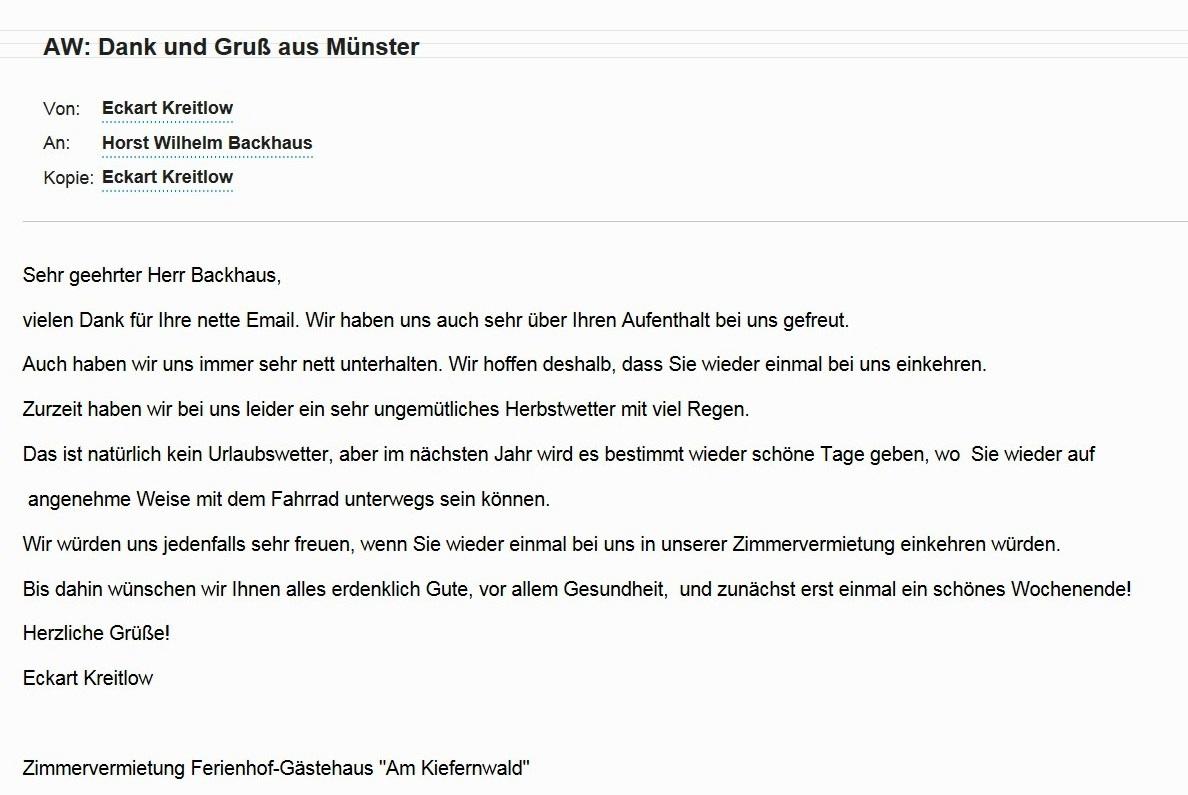 Ferienhof-Gästehaus Am Kiefernwald Ribnitz-Damgarten - Wir bedanken uns bei unserem Gast Herrn Horst Wilhelm Backhaus aus Münster am selben Tag für die nette Email vom 8.10.2016, erwidern die herzlichen Grüße ebenso herzlich  und wünschen Herrn Backhaus alles erdenklich Gute!